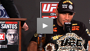 The giddy new champion Junior dos Santos speaks at the UFC on FOX post-fight press conference alongside the recently dethroned Cain Velasquez.