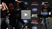Gold lamé, Steven Seagal-a-like and a near-scuffle highlight one of the most entertaining weigh-ins we can remember.