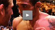 Featherweight champion Jose Aldo comes face-to-face with the undefeated Chad Mendes at the UFC RIO weigh-in.