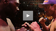 See how Vitor Belfort - and the Brazilian crowd - greet Anthony Johnson as the former welterweight misses the mark by more than ten pounds.