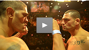 "Former heavyweight champion Cain Velasquez welcomes Strikeforce standout Antonio ""Bigfoot"" Silva to the UFC at the official weigh-in for the all-heavyweight UFC 146 weigh-in."