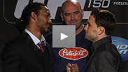 UFC® President Dana White, lightweight champion Benson Henderson, and former champion Frankie Edgar field questions from fans and media at the UFC® 150 on-sale press conference.