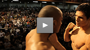 Things get heated between Sergio Moraes and Cezar Ferreira during the UFC&reg; 147 weigh-in.
