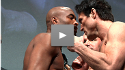 Champion vs. icon, but who's who? The Silva vs. Sonnen rivalry continues to build steam with a shoulder shot at UFC 148 weigh-ins.