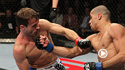UFC 149 headliner Renan Barão drops his opponent with punches then hops on his back for a powerful submission finish.