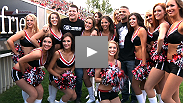 UFC fighters and fans attend the Calgary Stampeders' fight week football game. See how the UFC's best fare when it comes to throwing, singing and giving back.