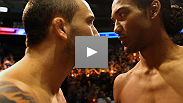 Watch the intense staredown between UFC® lightweight champion Benson Henderson and former champ Frankie Edgar at the UFC® 150 weigh-in.