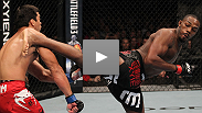 UFC® light heavyweight champion Jon Jones puts former champ Lyoto Machida to sleep with a standing guillotine choke.