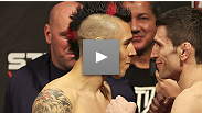 Hometown boy Dan Hardy makes weight and shares a spirited staredown with fellow stand-up star Amir Sadollah at the UFC on FUEL TV weigh-ins.