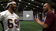 Undefeated UFC heavyweight contender Travis Browne visited the Minnesota Vikings' morning practice and the athletes from both sports traded inspiration ahead of Friday's UFC on FX event.