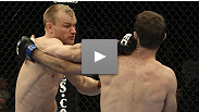 Martin Kampmann uses nasty ground and pound to set up a guillotine choke against Jacob Volkmann at UFC 108.