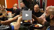 Michael Bisping drops by the house for a meal with his fighters, after which some UK teammates get out of control. Then in the final semifinal fight, Frank Lester and James Wilks face off in a rematch to see who will fill the last spot in the finale.