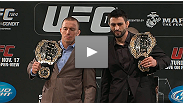 See UFC welterweight champion Georges St-Pierre and interim champion Carlos Condit at the UFC 154 press conference.