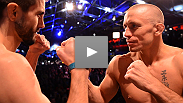 Two champions square off on the eve of their pivotal title bout - see welterweights Georges St-Pierre and Carlos Condit at the UFC 154 weigh-ins.