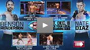 On Dec. 8th, Benson Henderson will defend his UFC lightweight title against Nate Diaz. Click on the video thumbnails to watch 8 free fight from both fighters that were instrumental to their journey to the lightweight title bout.
