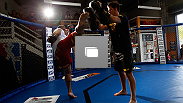 UFC fighters work out for the media during the UFC on F