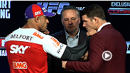 Vitor Belfort and Michael Bisping get a little too close for comfort during the UFC on FX pre-fight press conference staredown.
