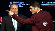 """I've trained for 25 minutes of tough."" Watch some of the best moments from the UFC on FX pre-fight press conference in Sao Paulo, Brazil."