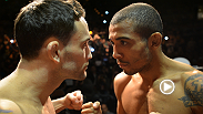 UFC featherweight champion Jose Aldo and former lightweight champion Frankie Edgar engage in an intense staredown at the UFC 156 weigh-in.