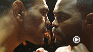 Rashad Evans and Antonio Rogerio Nogueira weigh in and face off before their co-main event at UFC 156.