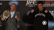 Bullies, name calling, and confrontations in elevators. Watch highlights from the UFC 158 pre-fight press conference.