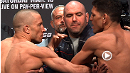 Things escalate quickly when Georges St-Pierre and Nick Diaz weigh in for their title bout at UFC 158.