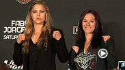 Ou&ccedil;a Miesha Tate e Cat Zingano na coletiva de imprensa p&oacute;s-TUF 17 Finale, e veja a primeira encarada de Cat com a campe&atilde; peso galo feminino do UFC Ronda Rousey.