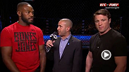 Jon Jones e Chael Sonnen falam com Jon Anik durante o TUF 17 Finale. Enquanto Sonnen era o mais do que disposto a falar sobre sua pr&oacute;xima luta no UFC 159, &quot;Bones&quot; n&atilde;o estava t&atilde;o ansioso quanto seu advers&aacute;rio.