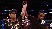 Michael Bisping uses his striking to score a dominant decision win over Alan Belcher, despite an accidental eye poke late in the bout.
