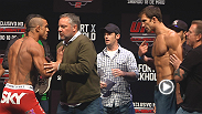 Vitor Belfort and Luke Rockhold have to be separated after they weigh in for their headlining bout at UFC on FX 8.
