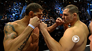 Heavyweight champ Cain Velasquez and Antonio 'Bigfoot' Silva get up close and personal at he UFC 160 weigh-in.