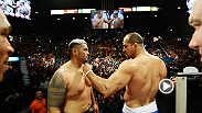 Heavy hitters Junior dos Santos and Mark Hunt weigh in and face off ahead of their slugfest at UFC 160.