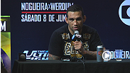 Hear from TUF Brasil coach Fabricio Werdum, plus the two Team Nog fighters who made it to the finals, Leonardo Santos and William Patolino at the UFC on FUEL TV 10 press conference. Werdum and Santos were victorious on Saturday night.