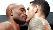 UFC middleweight champion Anderson Silva gets up close and personal with undefeated challenger Chris Weidman at the UFC 162 weigh-in.