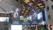 UFC Director of Canadian Operations, Tom Wright, hosts a UFC 167 press conference with UFC welterweight champion Georges St-Pierre and top contender Johny Hendricks at Complexe Desjardins on Thursday, August 1.
