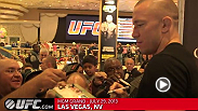 The first stop on the World Press Tour was the Ultimate Media Day at the MGM in Las Vegas where media and fans got to interact with UFC welterweight champion Georges St-Pierre and challenger Johny Hendricks.