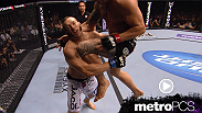 An impressive sequence of double flying knees followed by a triangle choke from Travis Browne.