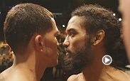 UFC lightweight champion Benson Henderson and challenger Anthony Pettis meet again in the Octagon tomorrow night - but today they came face-to-face in an intense weigh-in staredown.