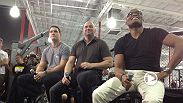 Middleweight champion Chris Weidman does media in LA, then meets up with former champion Anderson Silva and UFC president Dana White to take questions from hundreds of fans at UFC Gym in Torrance.