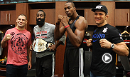 UFC 166 headliners Junior Dos Santos and Cain Velasquez gain special access to the Houston Rockets' locker room to meet NBA All-Stars Dwight Howard and James Harden.