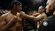 Heavyweight champion Cain Velasquez and challenger Junior Dos Santos put fists to face in their epic staredown, while Gilbert Melendez and Diego Sanchez beat their chest in anticipation of their lightweight bout.