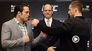 UFC welterweights Jake Ellenberger and Tarec Saffiedine join Mark Fischer at Marina Bay Sands on Wednesday to announce UFC Fight Night: Ellenberger vs. Saffieine, taking place January 4.