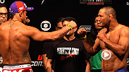 UFC veterans Vitor Belfort and Dan Henderson hit the scale before their headlining bout tomorrow in Goiania, Brazil.