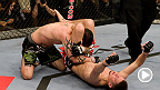 TUF 18 Finale headliner Nate Diaz took a three-fight winning streak into the Octagon against Kurt Pellegrino. Diaz out-struck Pellegrino early, and then forced the wrestler to the ground before locking in this emphatic triangle choke.