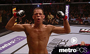 Nate Diaz uses a guillotine choke to become the first fighter to finish Jim Miller.