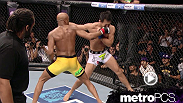 A counter right from Anderson Silva drops Yushin Okami in their middleweight title fight at UFC 134.