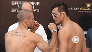 See the staredowns for Tarec Saffiedine vs. Hyun-Gyu Lim and Tatsuya Kawajiri vs. Sean Soriano at the UFC Singapore weigh-in.