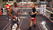 UFC bantamweight TJ Dillashaw works the pads with former IBO super featherweight champion and current boxing coach Jeff Mayweather. See the Team Alpha Male member fight at UFC Fight Night Atlanta on Jan. 15.