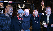Dana White, Ne-Yo, Anthony Pettis, Bruce Buffer, Joseph Benavidez and more party at the TUF Gym to celebrate the launch of Monster's Octagon performance headphones.