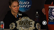 UFC president Dana White hands out post-fight bonuses and stars Ronda Rousey, Sara McMann, Daniel Cormier, and Rory MacDonald speak to the media at the UFC 170 post-fight press conference.